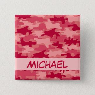 Badge Carré 5 Cm Nom rouge de camouflage de Camo personnalisé