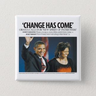 Badge Carré 5 Cm Obama : Changez a le bouton venu