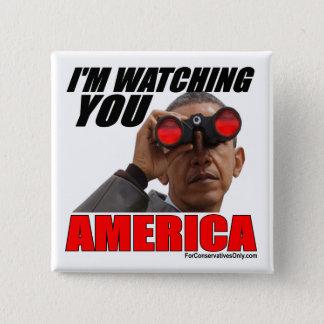 Badge Carré 5 Cm Obama - je vous observe l'Amérique
