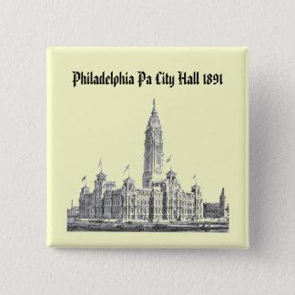 Badge Carré 5 Cm PA 1891 d'hôtel de ville Philadelphie