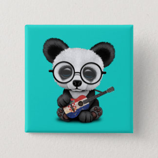 Badge Carré 5 Cm Panda de bébé jouant la guitare croate de drapeau