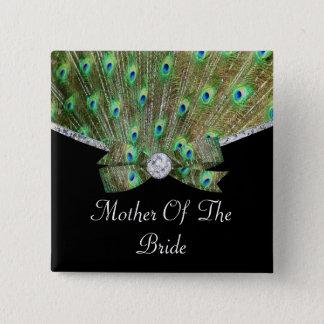 Badge Carré 5 Cm Paon élégant et mariage de diamants