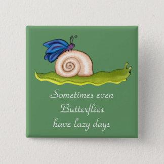 Badge Carré 5 Cm Papillon paresseux