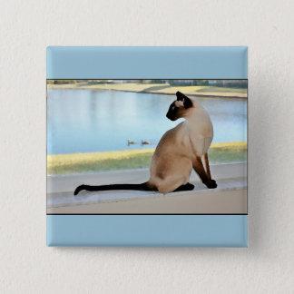 Badge Carré 5 Cm Peinture paisible de chat siamois