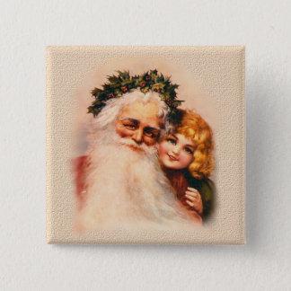 Badge Carré 5 Cm Père Noël victorien et fille