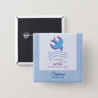 Badge Carré 5 Cm Personnalisez, colombe adulte de baptême sur le