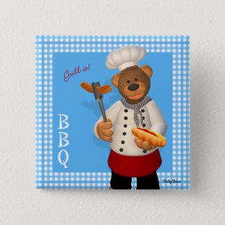 Badge Carré 5 Cm Petit chef de BBQ d'ours