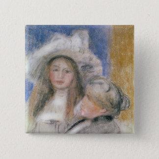 Badge Carré 5 Cm Pierre un Renoir   Berthe Morisot et sa fille