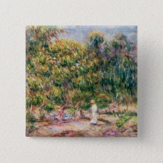 Badge Carré 5 Cm Pierre une femme de Renoir | dans le jardin de Les