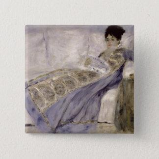 Badge Carré 5 Cm Pierre une Madame Monet de Renoir | sur un sofa