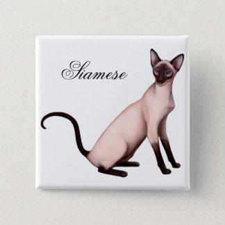 Badge Carré 5 Cm Pin amical de chat siamois