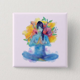 Badge Carré 5 Cm Pin de la méditation | d'aquarelle de Namaste