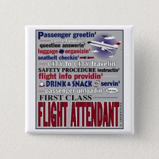 Badge Carré 5 Cm Pin de steward (hôtesse de l'air)