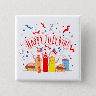 Badge Carré 5 Cm Pique-nique heureux du 4 juillet