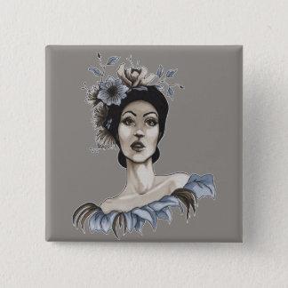 Badge Carré 5 Cm Plaque Femme avec des Fleurs - María