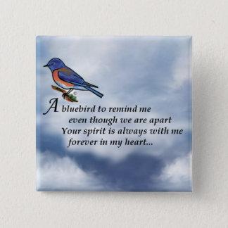 Badge Carré 5 Cm Poème de mémorial d'oiseau bleu