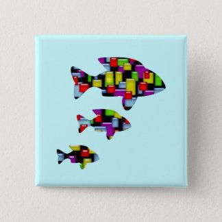 Badge Carré 5 Cm poissons de mosaïque
