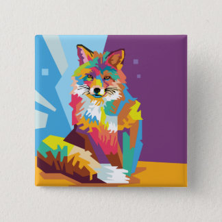 Badge Carré 5 Cm Portrait coloré de Fox d'art de bruit