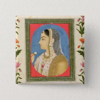 Badge Carré 5 Cm Portrait d'une dame noble, de la petite aube de