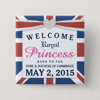 Badge Carré 5 Cm Princesse royale - bébé bienvenu de William et de