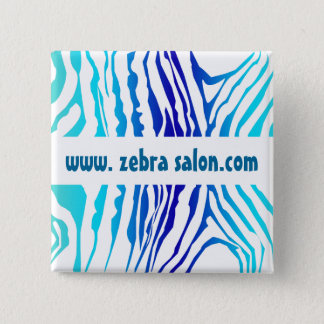 Badge Carré 5 Cm Professionnel chic de motif de zèbre de bleu de