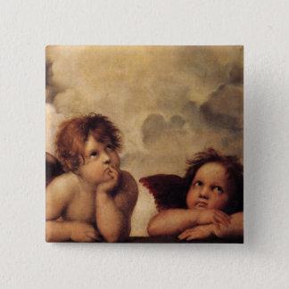 Badge Carré 5 Cm Raphael, ange de Sistine