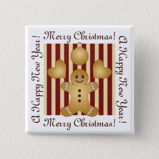 Badge Carré 5 Cm Rayures rouges de biscuits de vacances de Noël