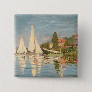 Badge Carré 5 Cm Régate de Claude Monet | à Argenteuil, c.1872