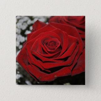 Badge Carré 5 Cm Rose rouge - bouton