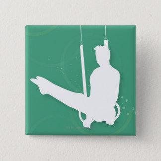 Badge Carré 5 Cm Silhouette d'un homme exécutant la gymnastique