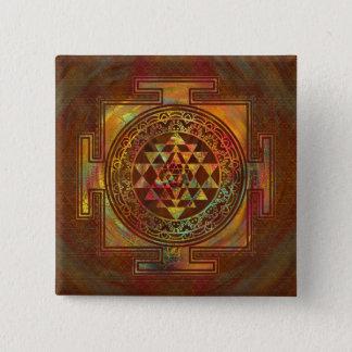 Badge Carré 5 Cm Sri coloré Yantra/Sri Chakra