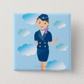 Badge Carré 5 Cm Steward (hôtesse de l'air)