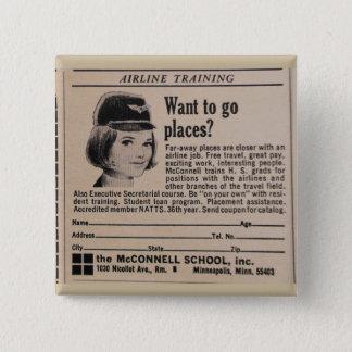 Badge Carré 5 Cm Steward (hôtesse de l'air) vintage d'hôtesse