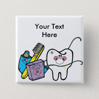 Badge Carré 5 Cm Substance dentaire pour dentiste jour le 6 mars