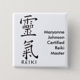 Badge Carré 5 Cm Symbole de Reiki en à l'encre noire