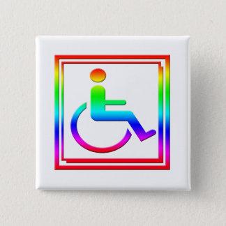 Badge Carré 5 Cm Symbole élégant handicapé multicolore