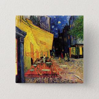 Badge Carré 5 Cm Terrasse de café de Van Gogh sur Place du Forum,
