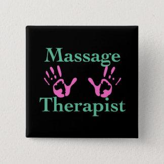 Badge Carré 5 Cm Thérapeute de massage : Copies roses de main