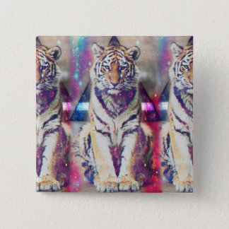 Badge Carré 5 Cm Tigre de hippie - art de tigre - tigre de triangle