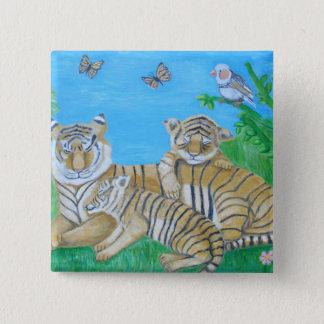 Badge Carré 5 Cm tigres