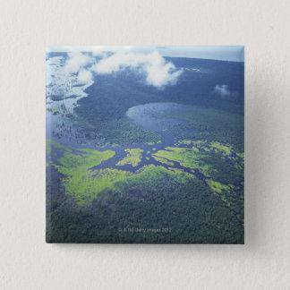 Badge Carré 5 Cm Tir aérien de forêt d'Amazone