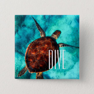 Badge Carré 5 Cm Tortue de mer de piqué