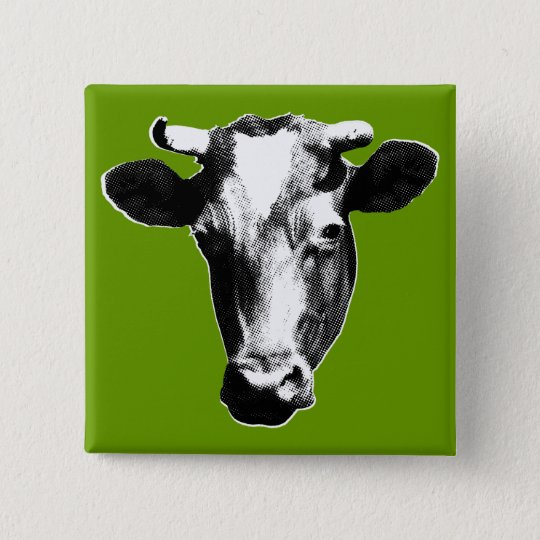 badge carr 5 cm vache art de bruit. Black Bedroom Furniture Sets. Home Design Ideas
