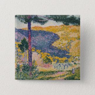 Badge Carré 5 Cm Vallée avec l'ombre de sapin sur la montagne