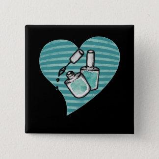Badge Carré 5 Cm Vernis à ongles turquoise