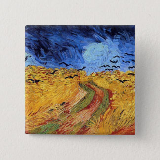 Badge Carré 5 Cm Vincent van Gogh - champ de blé avec les