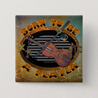 Badge Carré 5 Cm Violon ID281 de joueur