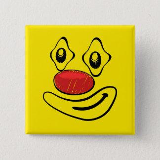 Badge Carré 5 Cm Visage maladroit de smiley de jaune de clown