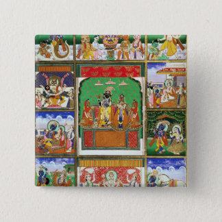 Badge Carré 5 Cm Vishnu au centre de ses dix avatars, Jaipur, R