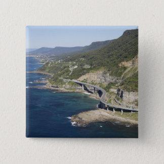 Badge Carré 5 Cm Vue aérienne de pont en falaise de mer près de